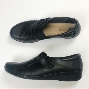 CLARKS Soft Cushion Black Leather Low Heel Loafers